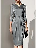 olcso Maxi ruhák-Szűk szabású Ékszer Térdig érő Szatén Örömanya ruha val vel Pántlika / szalag által LAN TING Express