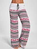 olcso nadrág-Női Aktív Karácsony Széles lábszár Nadrág - Nyomtatott Fekete Fehér S M L