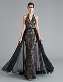 Χαμηλού Κόστους Φορέματα Ξεχωριστών Γεγονότων-Τρομπέτα / Γοργόνα Λαιμόκοψη V Ουρά μέτριου μήκους Με πούλιες Κομψό & Μοντέρνο / Φανταχτερό Επίσημο Βραδινό Φόρεμα 2020 με Πούλιες