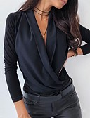 ราคาถูก เสื้อเอวลอยสำหรับผู้หญิง-สำหรับผู้หญิง เสื้อสตรี พื้นฐาน สีพื้น สีดำ
