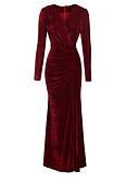 baratos Renda Romântica-Mulheres Elegante Bainha Vestido Sólido Longo