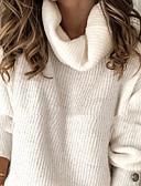 olcso Női pulóverek-Női Egyszínű Hosszú ujj Túlméretezett Pulóver Pulóver jumper, Lehajtott gallér Világoskék / Fehér S / M / L