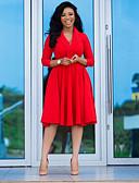 olcso Női ruhák-Női Boho Swing Ruha Egyszínű Térdig érő