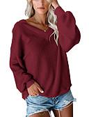 billige Skjorter til damer-Dame Ensfarget Langermet Pullover Genserjumper, V-hals Svart / Vin / Hvit XS / S / M