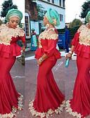 baratos Vestidos de Noite-Sereia Decorado com Bijuteria Cauda Escova Elastano Elegante Evento Formal Vestido 2020 com Apliques / Babados em Cascata