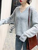 olcso Női pulóverek-Női Egyszínű Hosszú ujj Pulóver Pulóver jumper, V-alakú Szürke M