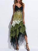 billige Kjoler med trykk-Dame Elegant Blonder Skjede Kjole - Geometrisk, Trykt mønster Med stropper Asymmetrisk