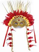 baratos Máscaras-Pena Máscara Venetian Mascarada Meia Máscara Inspirado por Fantasias Dourado Dia Das Bruxas Dia Das Bruxas Carnaval Baile de Máscaras Adulto Mulheres Feminino