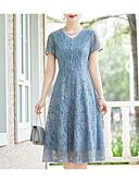 povoljno Print Dresses-Žene Veći konfekcijski brojevi Izlasci Korice Haljina Jednobojni Do koljena Plava