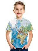 billige Topper til gutter-Barn Gutt Grunnleggende Trykt mønster 3D Kortermet T-skjorte Blå
