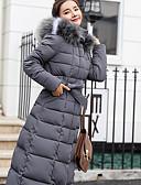 olcso Női hosszú kabátok és parkák-Női Egyszínű Pehely, Poliészter Fekete / Katonai zöld / Rubin M / L / XL