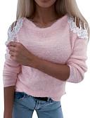 Χαμηλού Κόστους Γυναικεία Πουλόβερ-Γυναικεία Συνδυασμός Χρωμάτων Μακρυμάνικο Πουλόβερ Πουλόβερ Jumper Ανθισμένο Ροζ / Γκρίζο Τ / M / L
