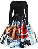 olcso Női ruhák-Női Parti Kínai Swing Ruha - Nyomtatott Zsinór, Mértani Midi Mikulás