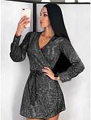 Χαμηλού Κόστους Print Dresses-Γυναικεία Κομψό Γραμμή Α Φόρεμα - Μονόχρωμο Πάνω από το Γόνατο