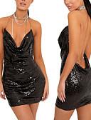 Χαμηλού Κόστους Φορέματα NYE-Γυναικεία Κομψό Λεπτό Εφαρμοστό Φόρεμα - Μονόχρωμο, Πούλιες Μίντι Ψηλή Μέση Τιράντες / Sexy