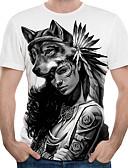 Χαμηλού Κόστους Βίντατζ Βασίλισσα-Ανδρικά T-shirt Κομψό στυλ street / Εξωγκωμένος Συνδυασμός Χρωμάτων / 3D / Γραφική Στάμπα Λευκό