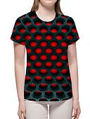ราคาถูก เสื้อยืดสำหรับสุภาพสตรี-สำหรับผู้หญิง เสื้อเชิร์ต พื้นฐาน / ที่พูดเกินจริง ลายพิมพ์ รูปเรขาคณิต / 3D / กราฟฟิค รูบิกมหัศจรรย์ ทับทิม