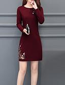 olcso Női ruhák-Női Boho Ízléses Hüvely Ruha - Hímzett, Virágos Térd feletti