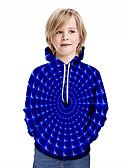 billige Topper til gutter-Barn Gutt Aktiv Gatemote Geometrisk 3D Lapper Trykt mønster Langermet Hettegenser og sweatshirt Blå