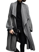 olcso Női szőrme és műszőrme kabátok-Női Napi Ősz & tél Hosszú Kabát, Egyszínű Térfogatcsökkenés Hosszú ujj Poliészter Szürke