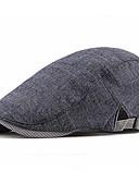 Χαμηλού Κόστους Men's Hats-Ανδρικά Μονόχρωμο Βασικό Πολυεστέρας Μπερές Φθινόπωρο Μαύρο Ανοιχτό Γκρι Βαθυγάλαζο