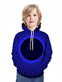 olcso Fiú kapucnis felsők és szvetterek-Gyerekek Fiú Aktív Utcai sikk Mértani 3D Kollázs Nyomtatott Hosszú ujj Kapucnis felső és melegítő Medence