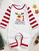 Χαμηλού Κόστους Baby Boys' One-Piece-Μωρό Αγορίστικα Βασικό Στάμπα / Χριστούγεννα Μακρυμάνικο Βαμβάκι Ένα Κομμάτι Λευκό