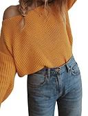 billige Jumpsuits og sparkebukser til damer-Dame Ensfarget Langermet Pullover Genserjumper, Båthals Vin / Lyseblå / Gul S / M / L