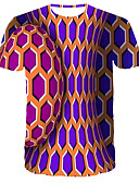cheap Men's Tees & Tank Tops-Men's Daily Club Street chic / Punk & Gothic T-shirt - Color Block / Graphic Print Purple