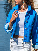 olcso Zakók-Női Napi Alap Ősz & tél Rövid Dzsekik, Egyszínű Térfogatcsökkenés Hosszú ujj Poliészter Medence / Rubin / Lóhere