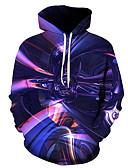 olcso Férfi pólók és pulóverek-Férfi Alkalmi / Alap Kapucnis felsőrész 3D