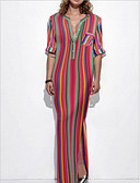 Χαμηλού Κόστους Μακριά Φορέματα-Γυναικεία Θήκη Φόρεμα - Ριγέ Μακρύ