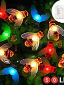 billige Eksotisk herreundertøy-zdm 5m 50 stk flerfarget vanntett ip65 batterikasse med 13 nøkkel kontroller honningbie form led lampesnor for hjem belysning dekorasjoner feriefest atmosfære