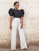 baratos Vestidos Longos-Mulheres Blusa Sólido Calça