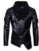 olcso Férfi dzsekik és kabátok-Férfi Napi Szokványos Kožnate jakne, Egyszínű V-alakú Hosszú ujj Poliuretán Fekete
