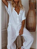 Χαμηλού Κόστους Γυναικείες μακριές και μίνι ολόσωμες φόρμες-Γυναικεία Μαύρο Κρασί Λευκό Πλατύ Πόδι Φόρμες Ολόσωμη φόρμα, Μονόχρωμο Τ M L