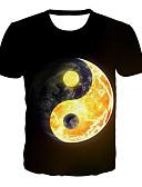 Χαμηλού Κόστους Γυναικείες μακριές και μίνι ολόσωμες φόρμες-Ανδρικά T-shirt Βασικό / Εξωγκωμένος Συνδυασμός Χρωμάτων / 3D / Γραφική Στάμπα Μαύρο