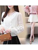 billige Dametopper-V-hals Skjorte Dame - Ensfarget Hvit