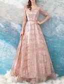 Χαμηλού Κόστους Φορέματα Παρανύμφων-Γραμμή Α Με Κόσμημα Μακρύ Τούλι Κομψό Χοροεσπερίδα / Επίσημο Βραδινό Φόρεμα 2020 με Πούλιες / Ζώνη / Κορδέλα