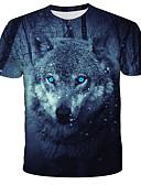 baratos Camisetas & Regatas Masculinas-Homens Camiseta Moda de Rua / Exagerado Estampado, 3D / Animal / Tie Dye Lobo Preto