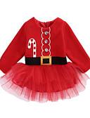 povoljno Kompletići za bebe-Dijete Djevojčice Aktivan Jednobojni Dugih rukava Do koljena Haljina Red / Dijete koje je tek prohodalo