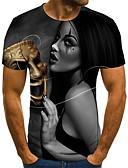 ราคาถูก เสื้อยืดและเสื้อกล้ามผู้ชาย-สำหรับผู้ชาย เสื้อเชิร์ต Street Chic / ที่พูดเกินจริง รอยจีบ / ลายพิมพ์ 3D / ลายตัวอักษร / Portrait สีดำ