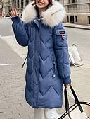 olcso Női hosszú kabátok és parkák-Női Egyszínű Pehely, Poliészter Fekete / Sárga / Medence M / L / XL