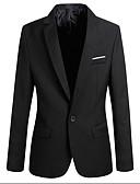 ราคาถูก เบลเซอร์ &สูทผู้ชาย-สำหรับผู้ชาย เสื้อคลุมสุภาพ, สีพื้น คอเสื้อเชิ้ต เส้นใยสังเคราะห์ สีดำ / ไวน์ / สีน้ำเงิน