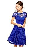 Χαμηλού Κόστους Print Dresses-Γυναικεία Μεγάλα Μεγέθη Εξόδου Κομψό Γραμμή Α Φόρεμα - Φλοράλ Μονόχρωμο, Δαντέλα Ως το Γόνατο