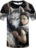 baratos Camisetas & Regatas Masculinas-Homens Camiseta Moda de Rua Estampado, 3D / Animal / Retrato Lobo Arco-íris