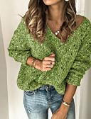 olcso Női pulóverek-Női Egyszínű Hosszú ujj Pulóver Pulóver jumper, V-alakú Tavasz / Ősz Arcpír rózsaszín / Medence / Barna S / M / L