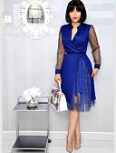 olcso Női ruhák-Női Elegáns A-vonalú Ruha Pöttyös Térdig érő