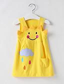 ราคาถูก เดรสเด็กผู้หญิง-เด็ก Toddler เด็กผู้หญิง หวาน สไตล์น่ารัก การ์ตูน เสื้อไม่มีแขน เหนือเข่า กระโปรงชุด สีเหลือง