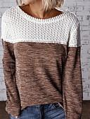baratos Suéteres de Mulher-Mulheres Estampa Colorida Manga Longa Pulôver Camisola Jumper Preto / Vermelho / Marron S / M / L